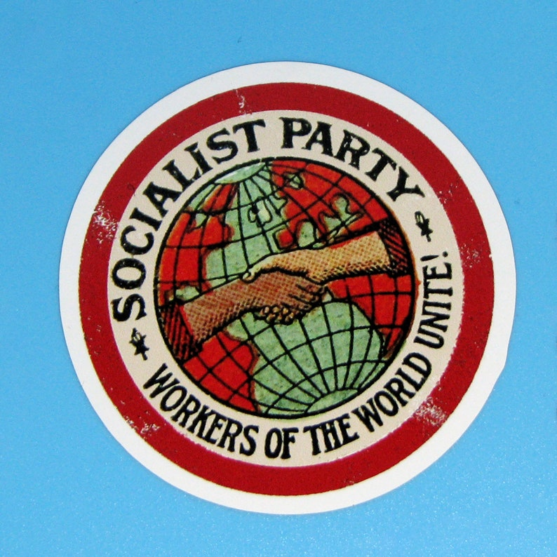 Large Socialist Party Sticker  Workers of the World Unite  image 0
