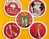 Socialist Torch Sticker Set |  Retro Socialism Party, Solidarity, Socialism for America, Leftist Vinyl Stickers, Small Gift