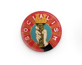 """Fancy Socialism 1.25"""" Pinback Button   Hand Holding Socialist Torch Round Badge Leftist Pin Anti-Capitalist, Small Gift"""