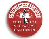 "Socialism for America 2.25"" Pinback Button   Vote for Socialist Candidates Round Badge Retro leftist Pin Anti-Capitalist Torch Sunrise"