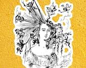 "Edwardian ""Arranging the Hair"" Sticker | Hairdresser Gift, Stylist Gift, Salon, Beauty, Devils, Angels, Small Gift"