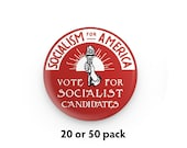 """Pack of 20 or 50 Socialism for America 1.25"""" Pinback Buttons   Vote for Socialist Candidates Round Badges Retro leftist Pins Anti-Capitalist"""