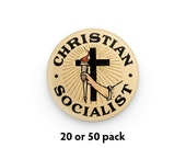 """Pack of 20 or 50 Christian Socialist 1.25"""" Pinback Buttons, Religious Leftist Round Badges Retro Socialism Pins Anti-Capitalist"""