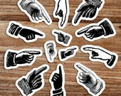 Pointing Fingers Sticker Set   13 Old Fashioned This Way Hand Vinyl Stickers Look Decal, Directional Attention, Small Gift