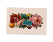Hope Sustain Thee Ever Victorian Sentiment Postcard | Comfort, Sympathy Victorian Hand & Roses Vintage Flowers Floral Flat Card, Small Gift