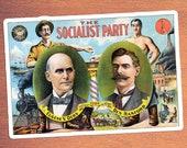 Socialist Party Kiss-Cut Large Sticker | Eugene V. Debs, Ben Hanford | Retro Socialism, Small Gift