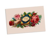 Forget Me Not Victorian Sentiment Postcard | Remembrance Victorian Hand & Roses Vintage Flowers Floral Flat Card Reminder, Small Gift