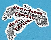 Army of Labor Against Capital Vinyl Sticker Set | 2 Edwardian Communist, Socialist Stickers, Retro Socialism, Small Gift