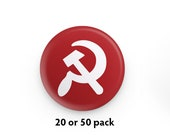"""Pack of 20 or 50 Hammer and Sickle 1.25"""" Pinback Buttons   Communist Round Badges Retro Leftist Pins Communism Solidarity Anti-Capitalist"""