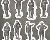 Victorian Mood Men #2 Vinyl Sticker Set, 8 Gentlemen Emotion Stickers: Love, Madness, Expectation, Dignity Weeping Fear Earnestness Laughter
