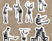 Old Fashioned Muscle Man #2 Sticker Set | 8 Vinyl Workout Stickers | Exercise, Gym, Health, Fitness, Stretch, Small Gift