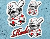 Marxist Baseball Sticker Set | 3 Vinyl Karl Marx Sports Reds Stickers | Retro Socialism Communism Leftist Anti-Capitalist Small Gift