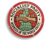 """Socialist Party 2.25"""" Pinback Button   Workers of the World Unite! Distressed Look Round Badge Retro Leftist Pin Anti-Capitalist Socialism"""