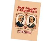 1916 Socialist Candidates Campaign Poster 4x6 Postcard Leftist Edwardian Socialism Allan Benson George Kirkpatrick Flat Card, Small Gift