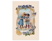 Seaside Victorian Children 4x6 Postcard Boy & Girl Playing at Beach Ocean Pansies Floral Old Fashioned Summer Flat Card, Small Gift