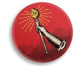 """Socialist Torch 2.25"""" Pinback Button   Hand Holding Torch Round Badge Retro Leftist Pin Anti-Capitalist Socialism, Small Gift"""