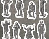 Victorian Mood Men #1 Sticker Set, 8 Vinyl Gentlemen Emotions: Despair Calm Disgust Horror Anger Fear Supplication Laughter, Small Gift