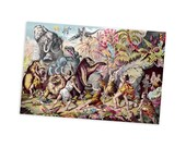 """Cave Dwellers Contend with Prehistoric Monsters 4x6"""" Postcard 