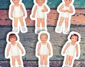 Old Fashioned Paper Dolls Sticker Set | 6 Vinyl Color Vintage Paper Doll Stickers | 1930s Style Stickers, Small Gift