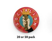 """Pack of 20 or 50 Fancy Socialism 1.25"""" Pinback Buttons   Hand Holding Socialist Torch Round Badges Leftist Pins Anti-Capitalist"""