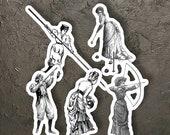 Ladies Sport Sticker Set, 5 Vinyl Victorian Women's Sports Stickers Archery Croquet Pole Vault Hunting Bowling Feminist, Small Gift