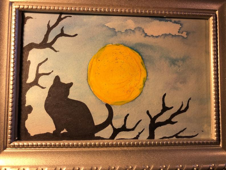 6X4-2288 Original Watercolor Painting Halloween Black Cat Silhouette