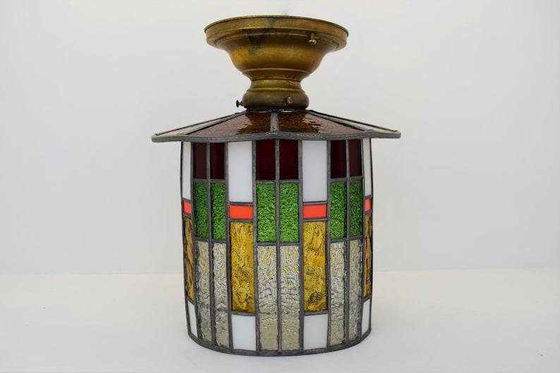 Vintage Mid-Century Semi Flush Mount Ceiling Light Fixture w/ image 0