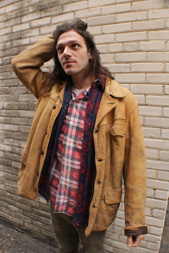 Leather Work Jacket -- 30s/40s -- Large -- Thrashe