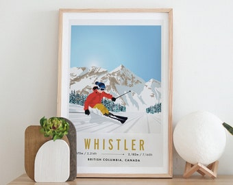 Whistler - Blackcomb, Canada Vintage Snowboard/Ski A3 A4 Travel Poster Art Print - Recycled Paper