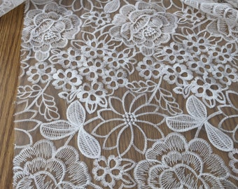 Light Ivory Embroider Organza Fabric by the yard