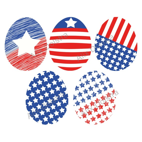 USA Flag Easter Eggs, PNG, PSD Clip Art, Patriotic Set, North American  Flag, Stars and Stripes