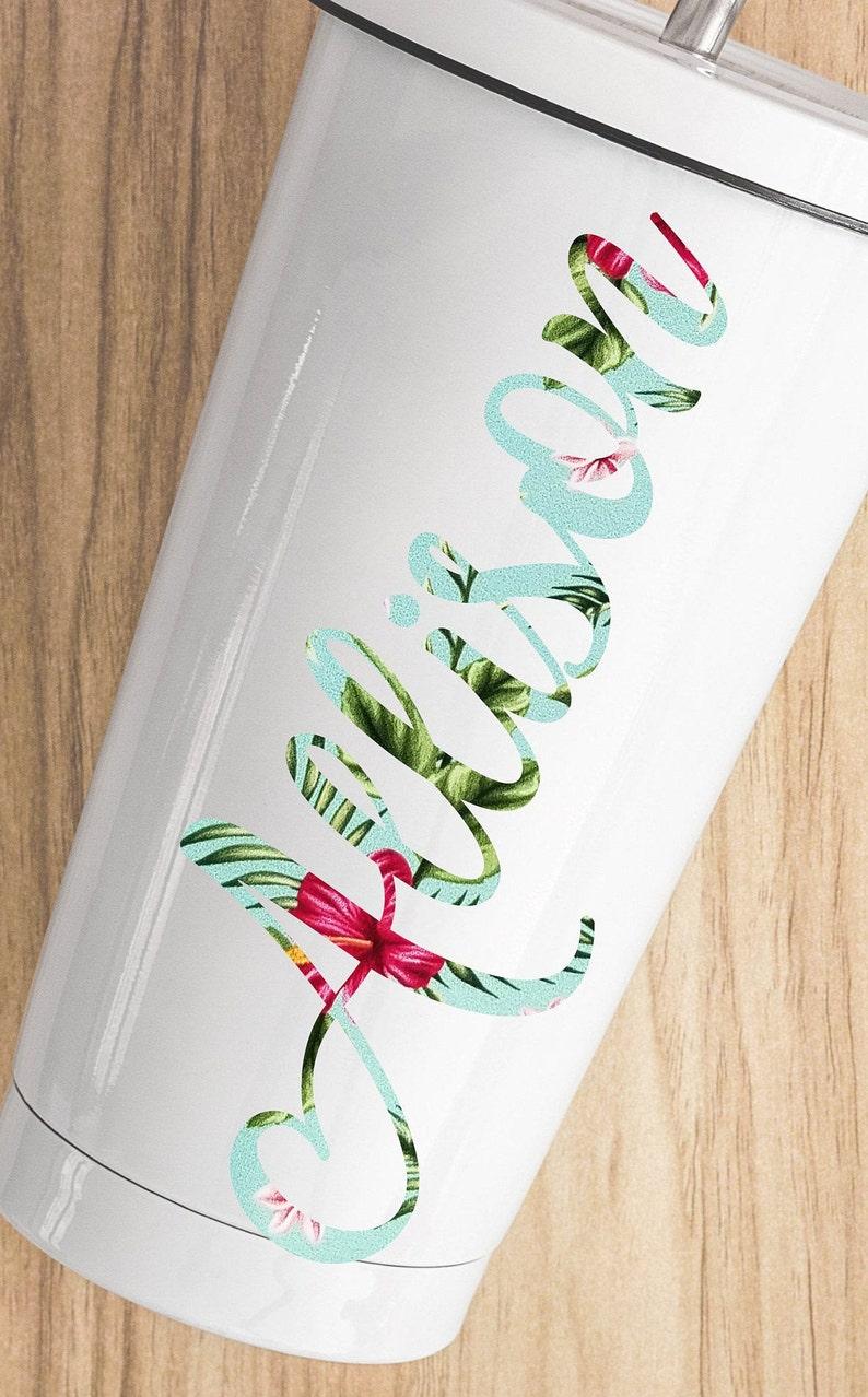 Hawaiian Sticker Hawaiian Flower Vinyl HAWAIIAN FLOWER DESIGN Cup Decal Hawaiian Decal Name Decal Hawaiian Flower Name