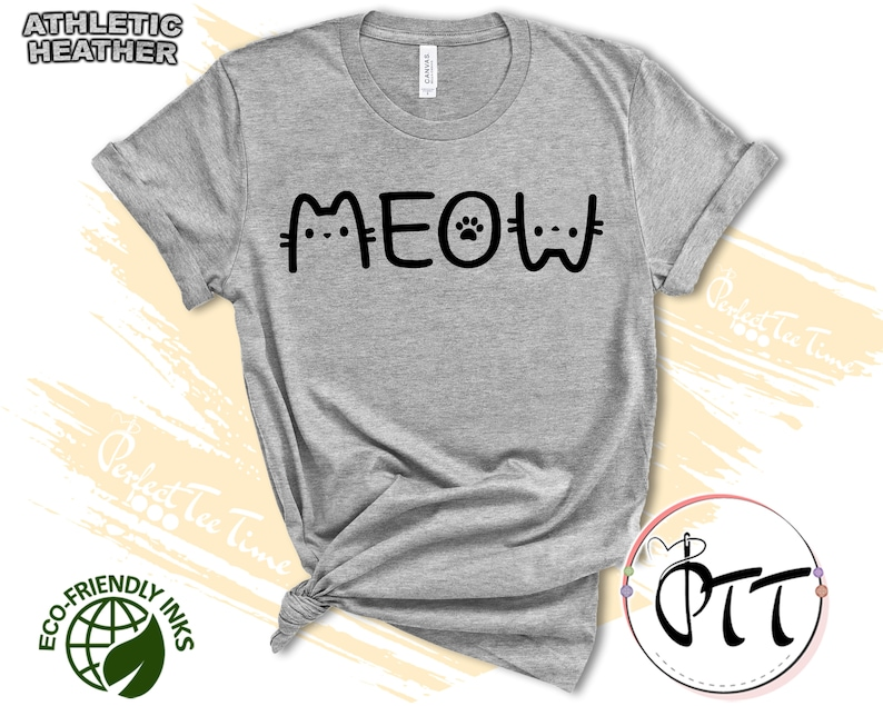 Meow Cute Cat Shirt Cat Mom Cute T Shirt Animal Lover Kids Tees Whiskers Face I Love Cats Kitten Kitty T-Shirt Funny Present Gift