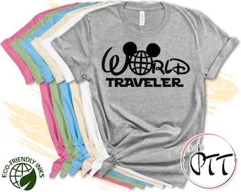 World Traveler Disney Epcot Shirt, Disney Shirts, Disney World Family Matching Tees, Disneyland Tee, Mickey T-Shirt For Men Women and Kids