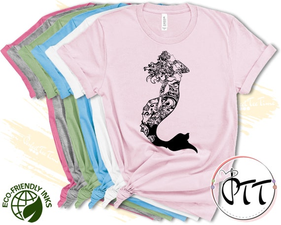 Mermaid Vibes T Shirt Comical Graphic Tee Princess Shirts for Women