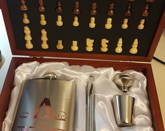 Hip Flask Chess Set in Wooden Box, Monogrammed Personalised