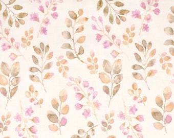 Jersey Cotton Fabric Leaves old Mauve floral flowers, cottonjersey floral, summer jersey, jersey for children