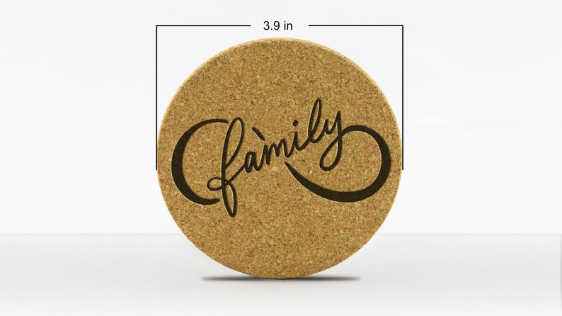 Cork Coaster with Infinity Family 4-Pack