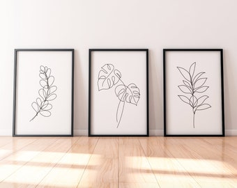 Line Plants Leaf Wall Print, Set of Three Prints - Tropical Leaf, Palm, Botanical Print, Home Gift, Living Room Prints, Plant Home Decor