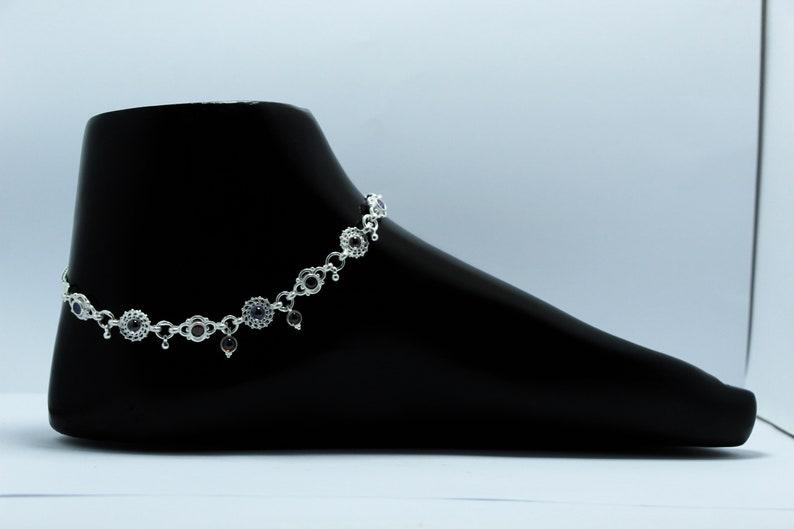 925 Sterling silver handmade vintage antique design stylish anklet foot bracelet with stone jewellery