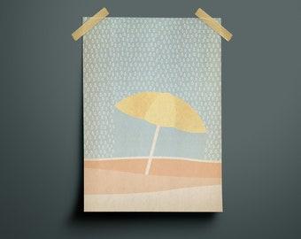 Poster, A4 Print, Beach, Rain, Parasol, Soft Colors, Beach, Rain, Soft Colors, Illustration, Art, Design