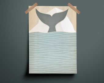 Poster, A4 Print, Whale, Water, Soft Colors, Whale, Ocean, Soft Colors, Illustration, Art, Design