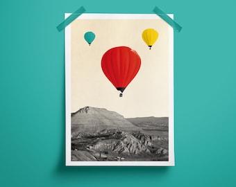 Poster, A4 Print, Collage, Air Balloon, Photo Collage, Color, Hot Air Balloon, Color, Art, Design