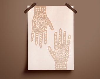 Poster, A4 Print, Hands, Arabic, Hands, Arabic, Soft Colors, Soft Colors, Illustration, Art, Design