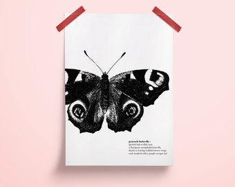 Poster, A4 Print, Black White, Butterfly, Animal, Insect, Butterfly, Illustration, Art, Design