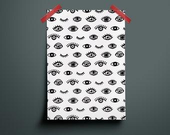 Poster, A4 Print, Black White, Eye, Eyes, Pattern, Pattern, Illustration, Art, Design