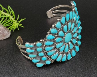 925ForHer Cluster Turquoise Cuff Bracelet | Big Turquoise Bracelet Cuff | Sterling Silver Bracelet | Dainty Turquoise Cluster Bracelet Cuff