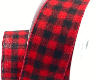 2.5 Inch x 100 Feet Red, Black Flannel Check Plaid Wired Edge Ribbon