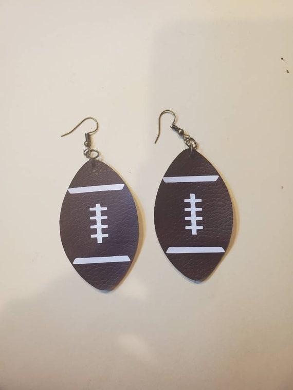 Faux leather football earrings