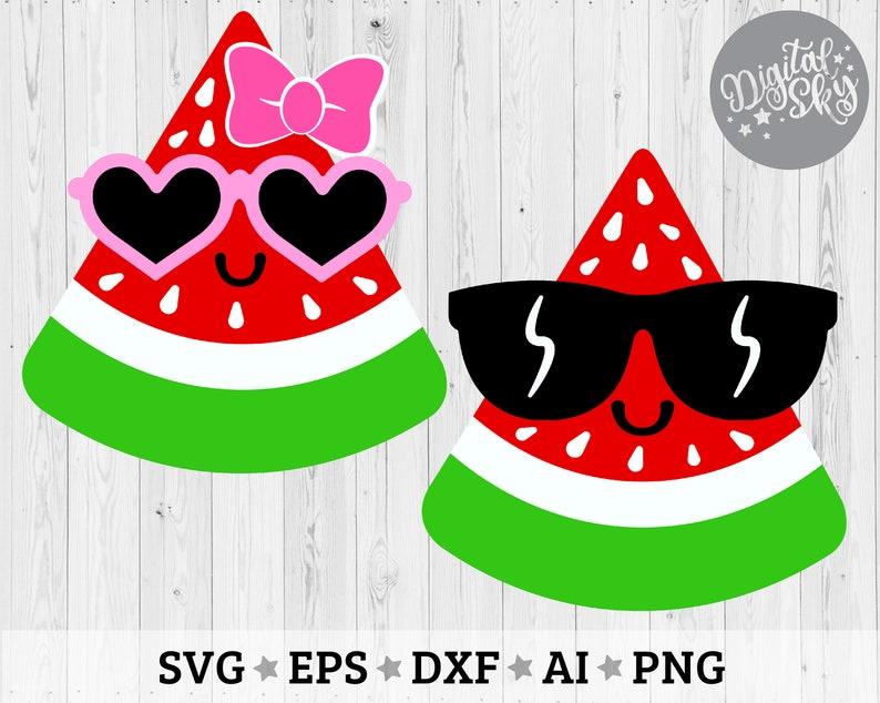 Cut files Cute Watermelon Svg dxf Watermelon Slice Sunglasses Svg png Summer Clip Art svg Kawaii Watermelon Svg Watermelon Svg eps